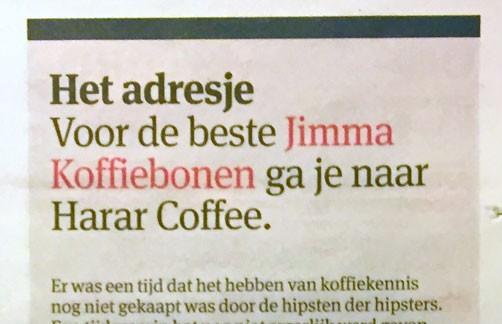Voor de beste Jimma Koffiebonen ga je naar Harar Coffee - Het Parool